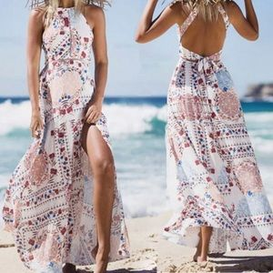 White floral open black dress